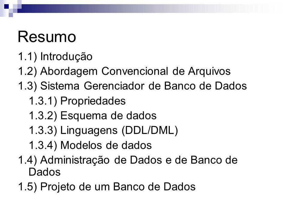Resumo 1.1) Introdução 1.2) Abordagem Convencional de Arquivos 1.3) Sistema Gerenciador de Banco de Dados 1.3.1) Propriedades 1.3.2) Esquema de dados