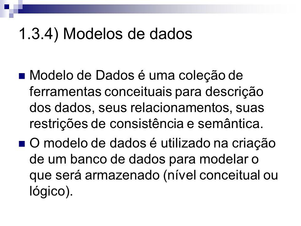 1.3.4) Modelos de dados Modelo de Dados é uma coleção de ferramentas conceituais para descrição dos dados, seus relacionamentos, suas restrições de co