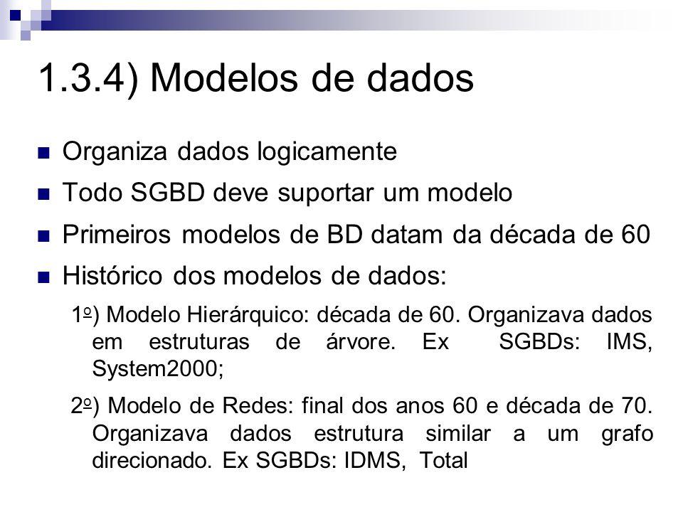 1.3.4) Modelos de dados Organiza dados logicamente Todo SGBD deve suportar um modelo Primeiros modelos de BD datam da década de 60 Histórico dos model