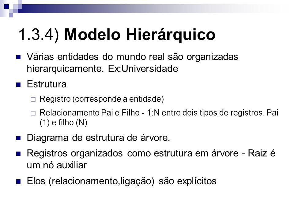 1.3.4) Modelo Hierárquico Várias entidades do mundo real são organizadas hierarquicamente. Ex:Universidade Estrutura Registro (corresponde a entidade)