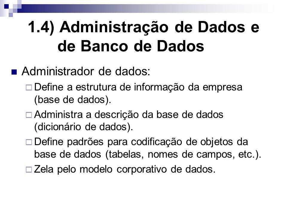 1.4) Administração de Dados e de Banco de Dados Administrador de dados: Define a estrutura de informação da empresa (base de dados).