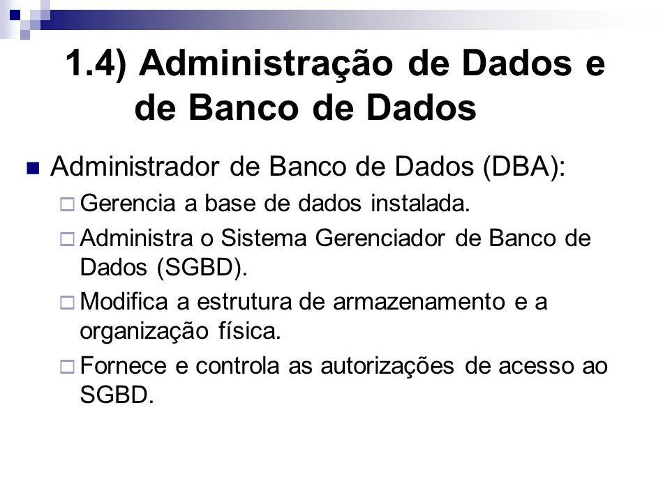 1.4) Administração de Dados e de Banco de Dados Administrador de Banco de Dados (DBA): Gerencia a base de dados instalada.