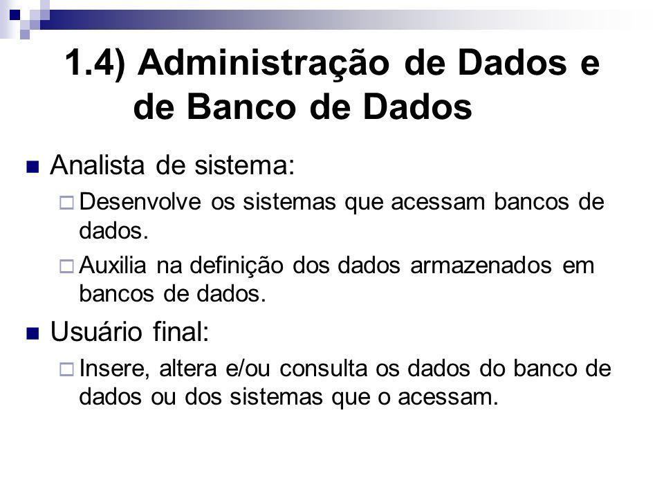 1.4) Administração de Dados e de Banco de Dados Analista de sistema: Desenvolve os sistemas que acessam bancos de dados.