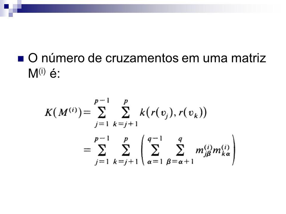 O número de cruzamentos em uma matriz M (i) é:
