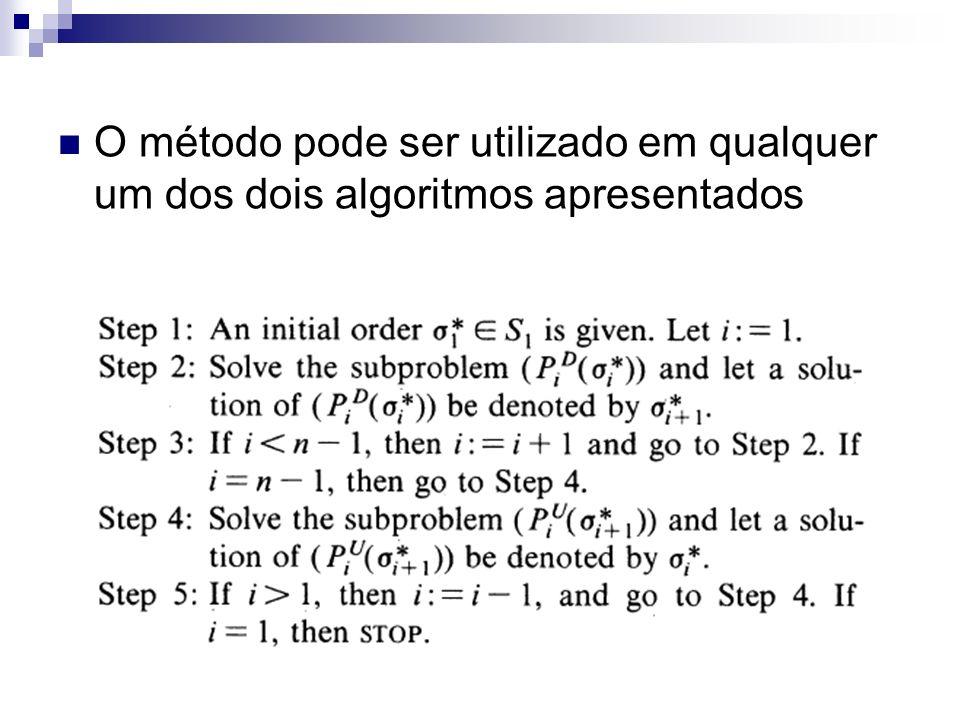 O método pode ser utilizado em qualquer um dos dois algoritmos apresentados