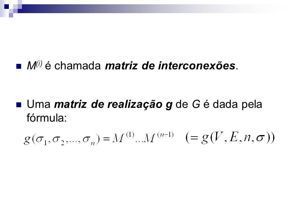 U: conectividade inferior i: i-ésima matriz de interconexões k: vértice representado pela k-ésima linha da matriz M (i) i = 2 e k = 4