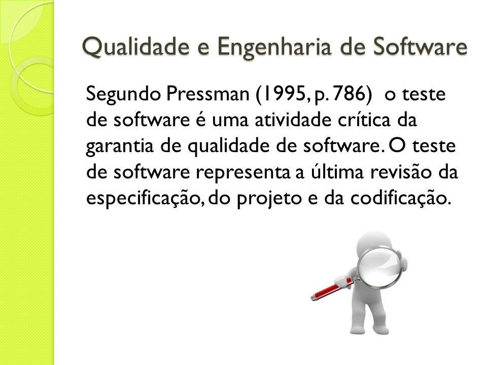 Qualidade e Engenharia de Software Segundo Pressman (1995, p. 786) o teste de software é uma atividade crítica da garantia de qualidade de software. O
