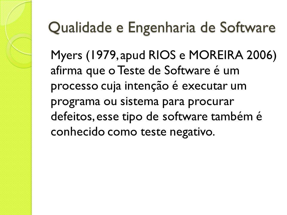 Qualidade e Engenharia de Software Myers (1979, apud RIOS e MOREIRA 2006) afirma que o Teste de Software é um processo cuja intenção é executar um pro