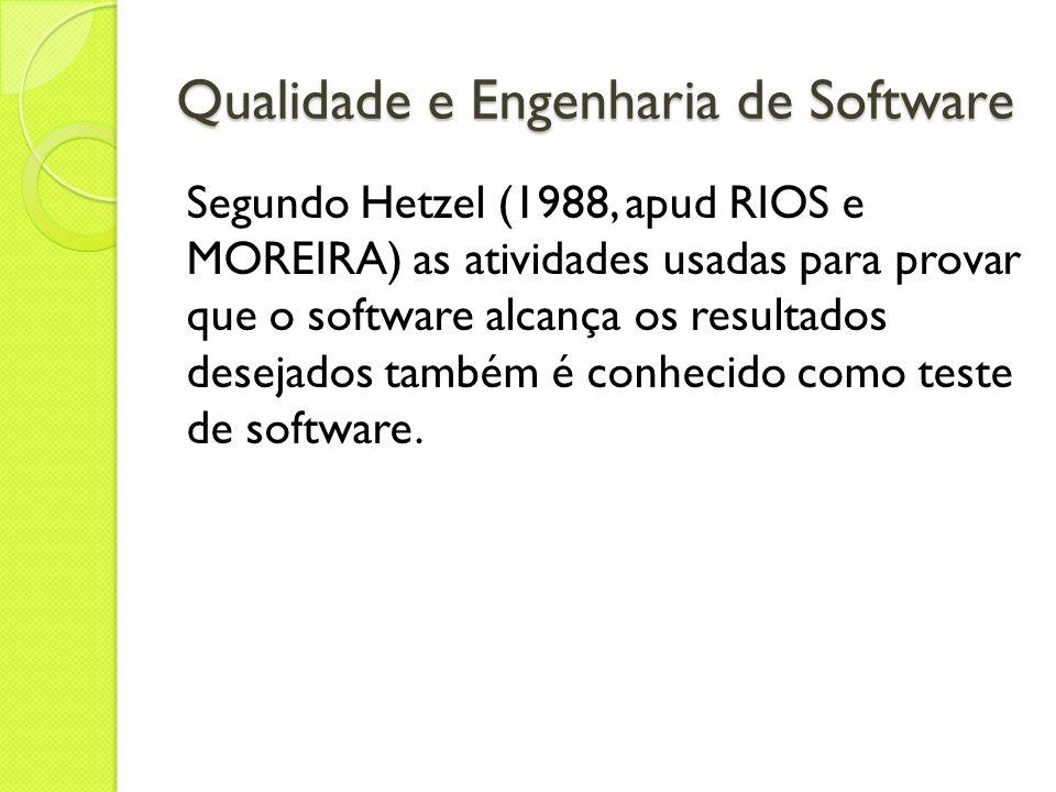 Qualidade e Engenharia de Software Segundo Hetzel (1988, apud RIOS e MOREIRA) as atividades usadas para provar que o software alcança os resultados de