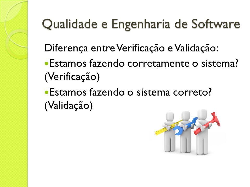 Qualidade e Engenharia de Software Diferença entre Verificação e Validação: Estamos fazendo corretamente o sistema? (Verificação) Estamos fazendo o si