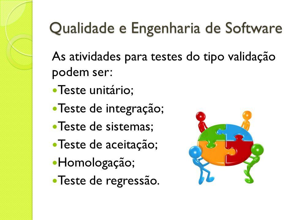 Qualidade e Engenharia de Software As atividades para testes do tipo validação podem ser: Teste unitário; Teste de integração; Teste de sistemas; Test