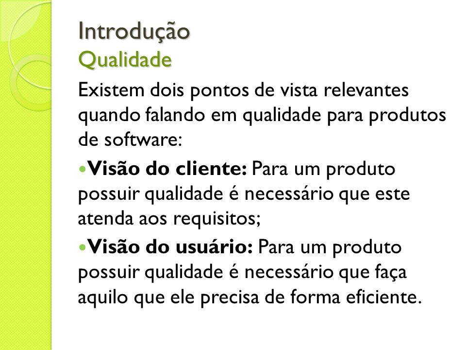 Introdução Qualidade Existem dois pontos de vista relevantes quando falando em qualidade para produtos de software: Visão do cliente: Para um produto