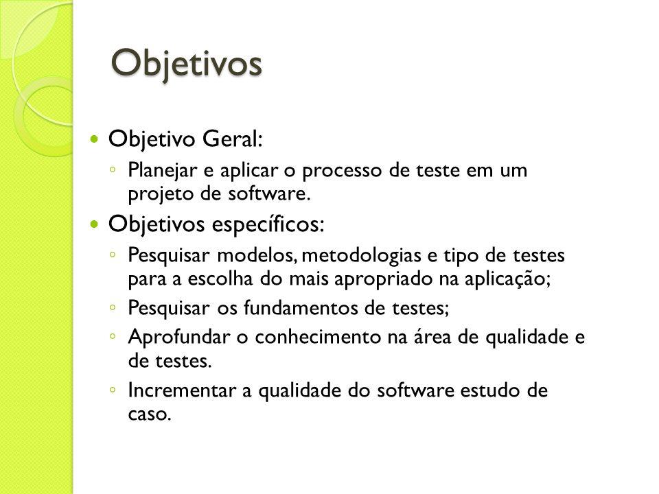 Objetivos Objetivo Geral: Planejar e aplicar o processo de teste em um projeto de software. Objetivos específicos: Pesquisar modelos, metodologias e t