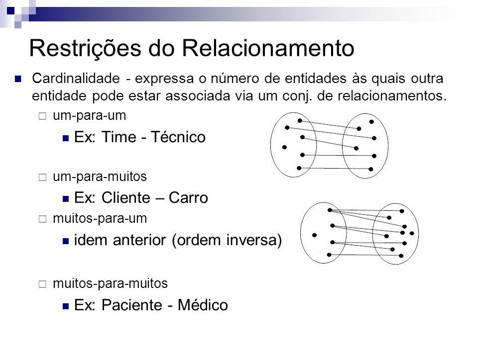 Relacionamento Atributo de relacionamento Atributo descritivo ex: cliente e conta pode ter um atributo descritivo data, indicando a data da última mov