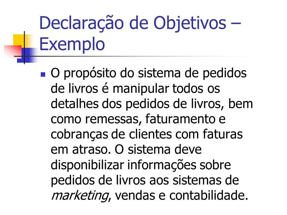 Declaração de Objetivos – Exemplo O propósito do sistema de pedidos de livros é manipular todos os detalhes dos pedidos de livros, bem como remessas,