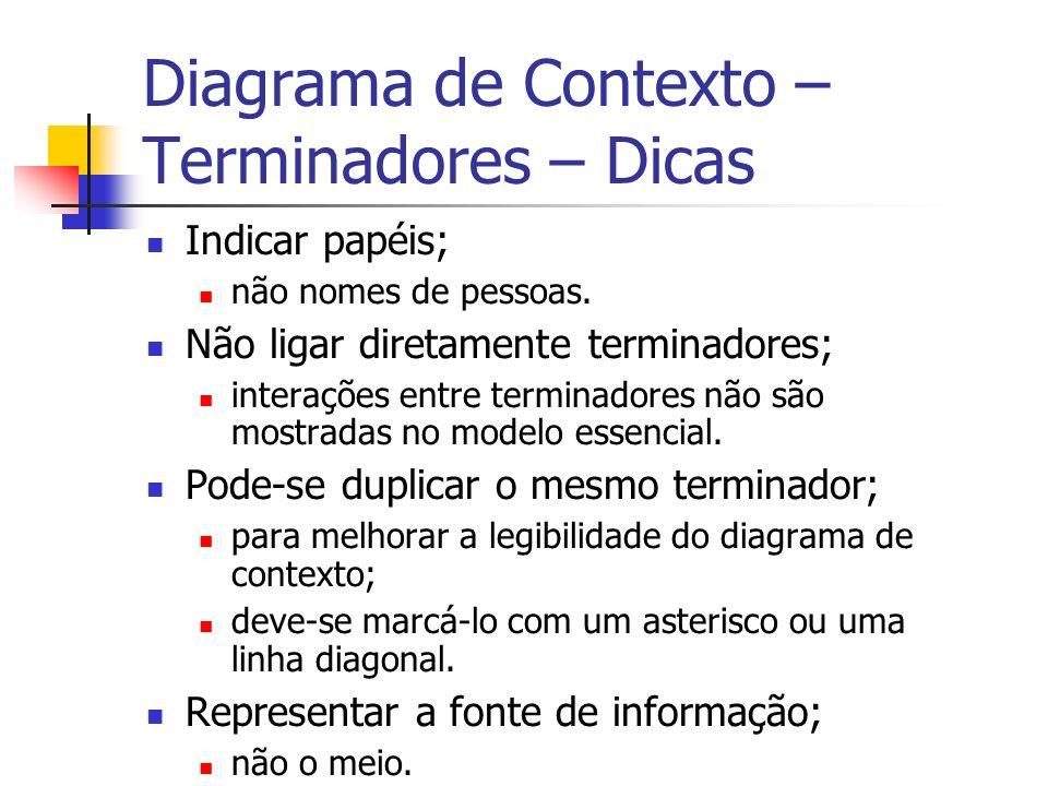 Diagrama de Contexto – Terminadores – Dicas Indicar papéis; não nomes de pessoas. Não ligar diretamente terminadores; interações entre terminadores nã