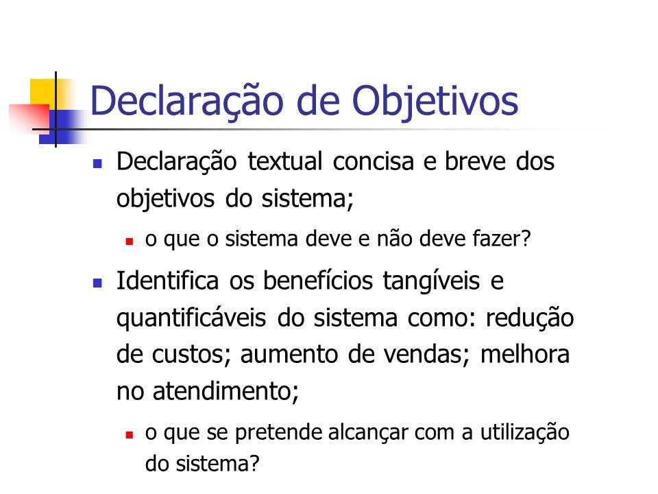 Declaração de Objetivos Declaração textual concisa e breve dos objetivos do sistema; o que o sistema deve e não deve fazer? Identifica os benefícios t