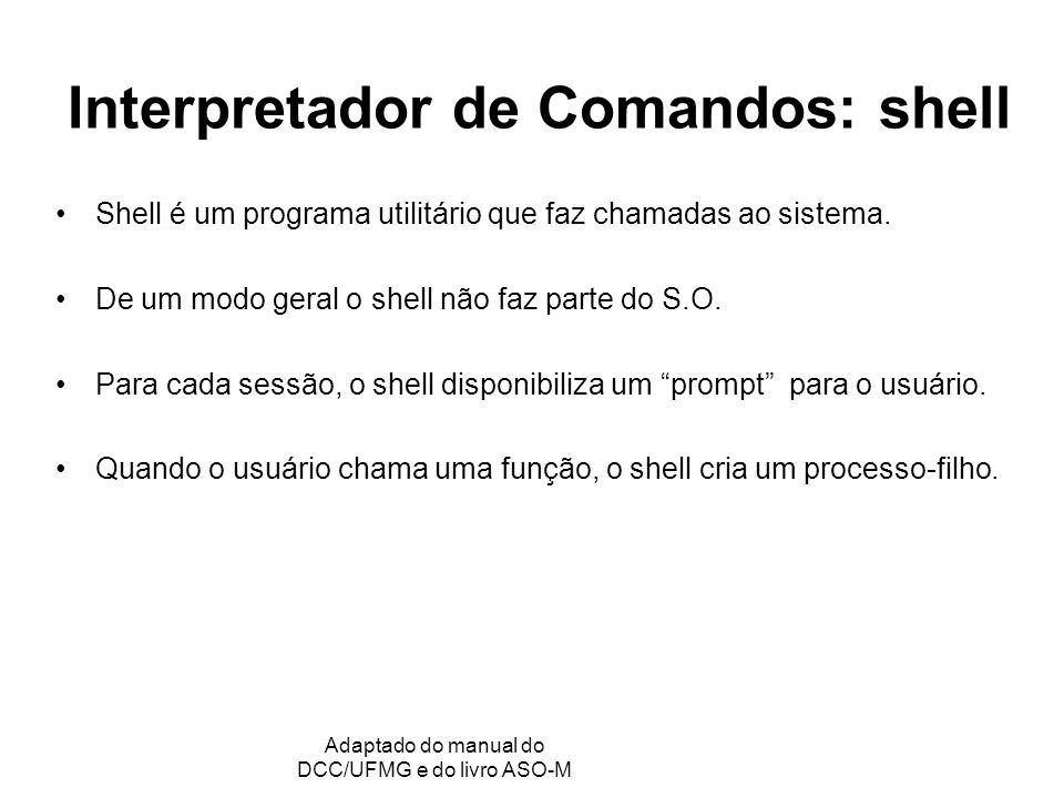 GRC - Gerência de Recursos Computacionais Adaptado do manual do DCC/UFMG e do livro ASO-M Interpretador de Comandos: shell Shell é um programa utilitário que faz chamadas ao sistema.