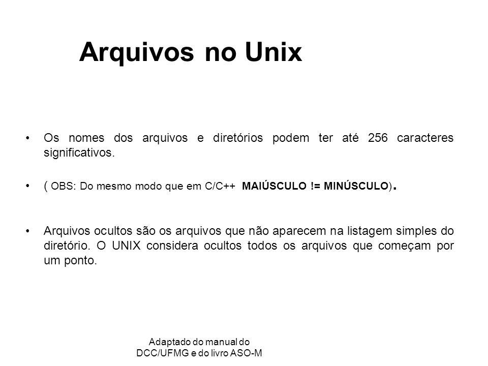 GRC - Gerência de Recursos Computacionais Adaptado do manual do DCC/UFMG e do livro ASO-M Arquivos no Unix Os nomes dos arquivos e diretórios podem te
