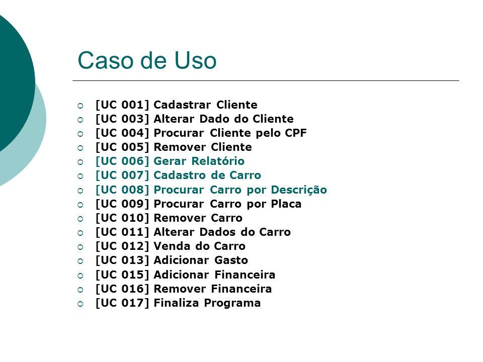 Caso de Uso [UC 001] Cadastrar Cliente [UC 003] Alterar Dado do Cliente [UC 004] Procurar Cliente pelo CPF [UC 005] Remover Cliente [UC 006] Gerar Rel