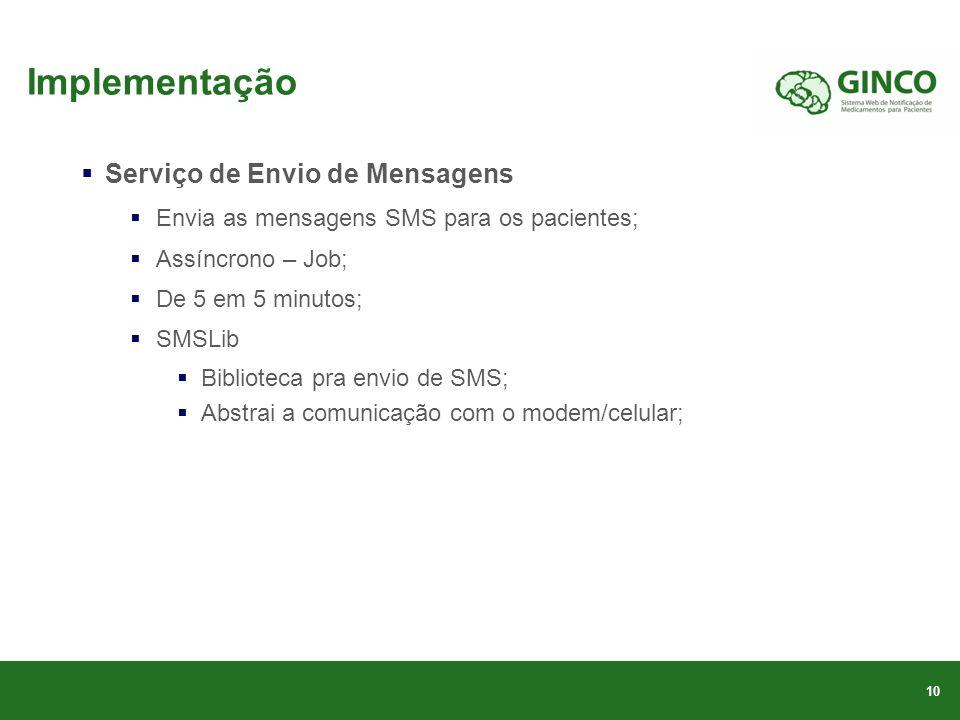 Implementação Serviço de Envio de Mensagens Envia as mensagens SMS para os pacientes; Assíncrono – Job; De 5 em 5 minutos; SMSLib Biblioteca pra envio de SMS; Abstrai a comunicação com o modem/celular; 10