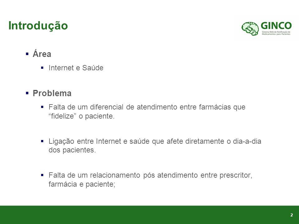 Introdução Área Internet e Saúde Problema Falta de um diferencial de atendimento entre farmácias que fidelize o paciente.