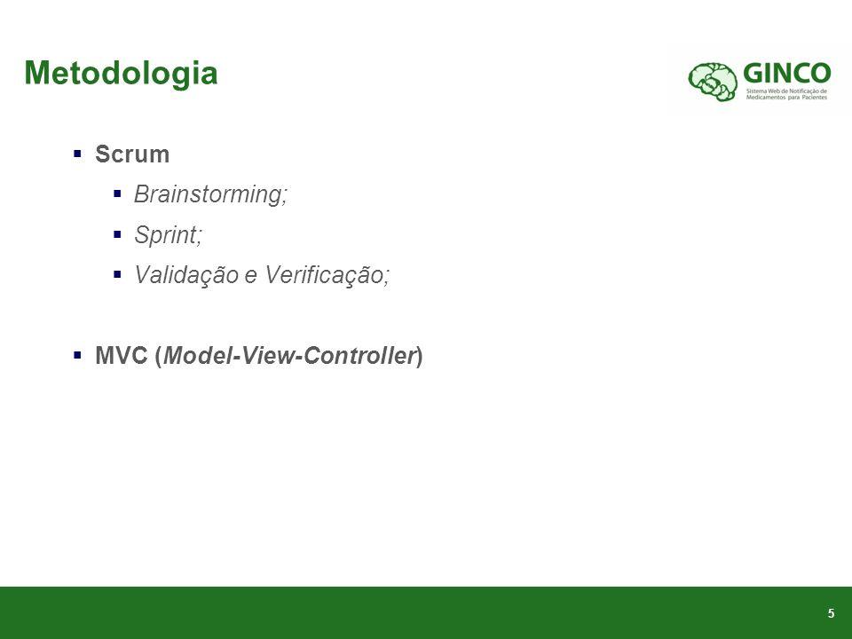 Metodologia Scrum Brainstorming; Sprint; Validação e Verificação; MVC (Model-View-Controller) 5