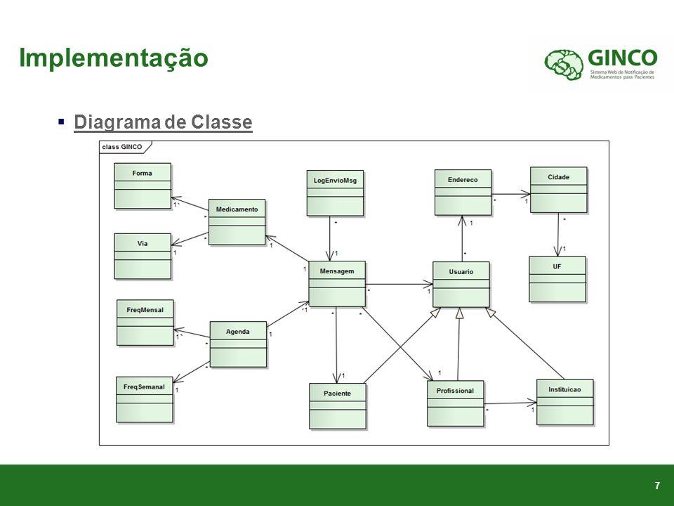 Implementação 7 Diagrama de Classe