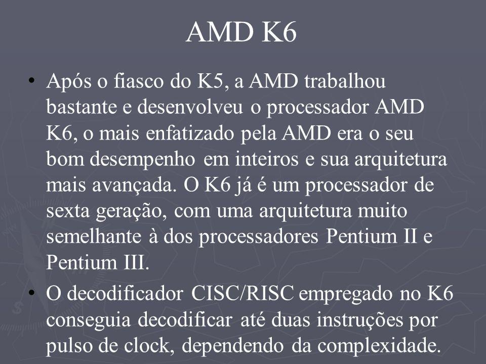 Principais características da arquitetura AMD K6 Arquitetura de superescalar, processador RISC Tecnologia de freqüência: 233 MHz, 266 MHz e 300 MHz Nova técnica de produção de 0,25 mícrons, uma geração de calor bem menor com tensão de apenas 2.2v