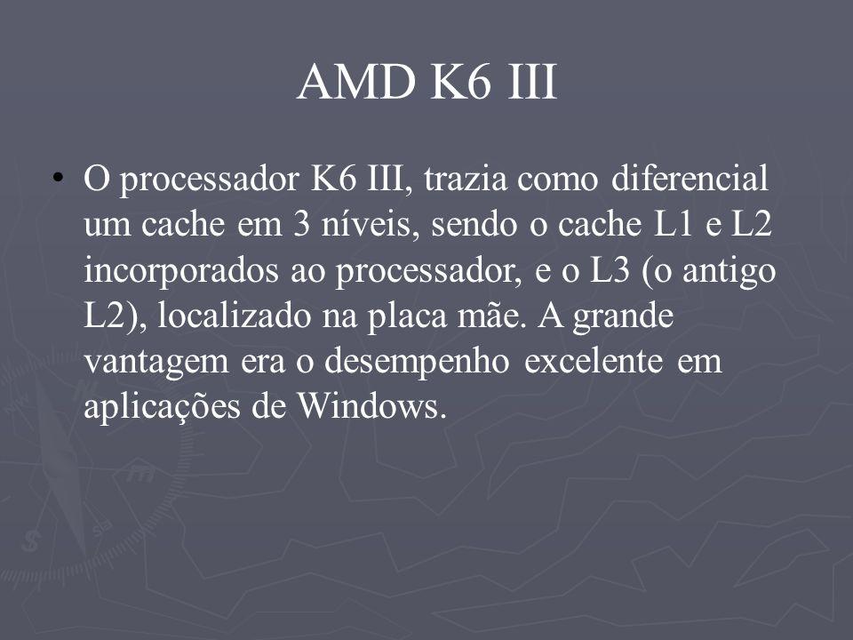 Principais características da arquitetura AMD K6-III : Arquitetura superescalar da sexta geração RISC-86 com até 6 instruções em paralelo por clock; Predição de nível 3 avançada da branch; Execução fora de ordem; 21 instruções novas de SIMD para melhorar os gráficos 3D e o desempenho dos processos multimídias; 4 Operações Peak de ponto flutuande por o clock;