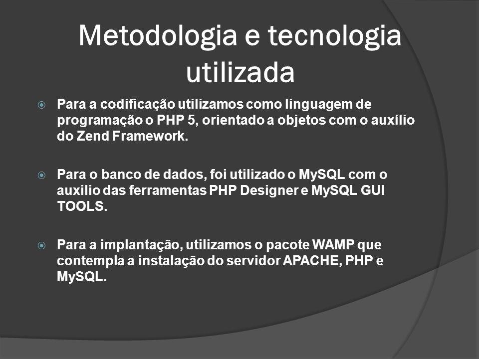 Metodologia e tecnologia utilizada Para a codificação utilizamos como linguagem de programação o PHP 5, orientado a objetos com o auxílio do Zend Fram