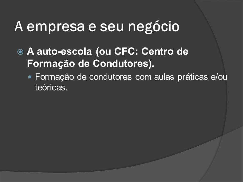 A empresa e seu negócio A auto-escola (ou CFC: Centro de Formação de Condutores). Formação de condutores com aulas práticas e/ou teóricas.