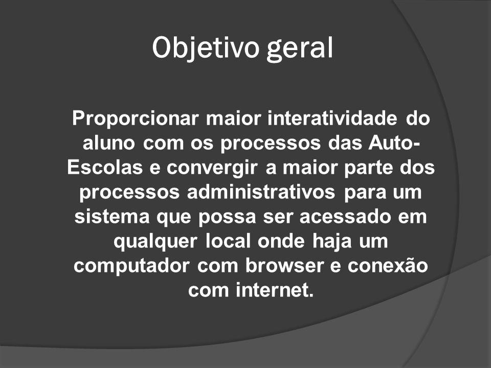 Objetivo geral Proporcionar maior interatividade do aluno com os processos das Auto- Escolas e convergir a maior parte dos processos administrativos p