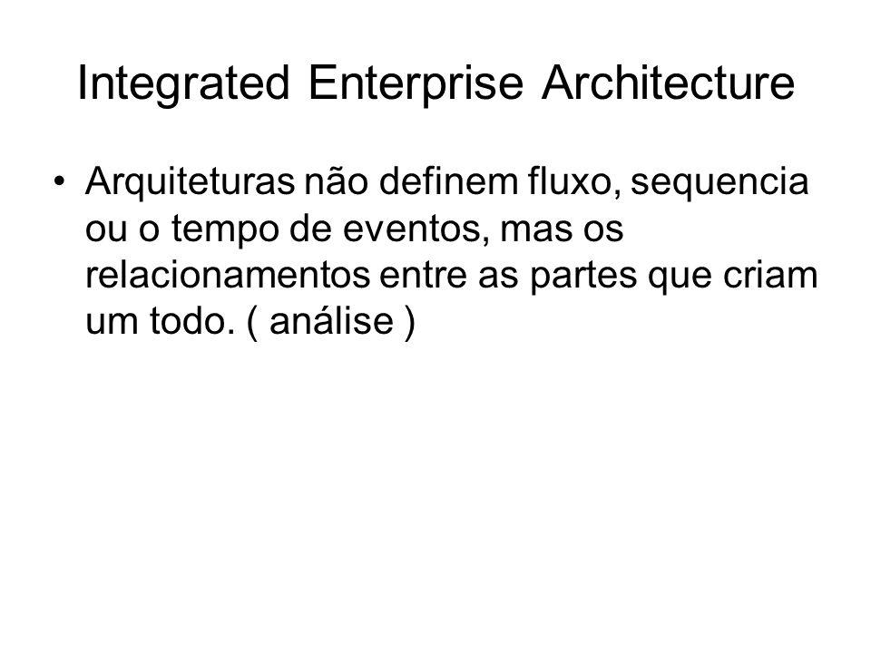 Integrated Enterprise Architecture Arquiteturas não definem fluxo, sequencia ou o tempo de eventos, mas os relacionamentos entre as partes que criam um todo.