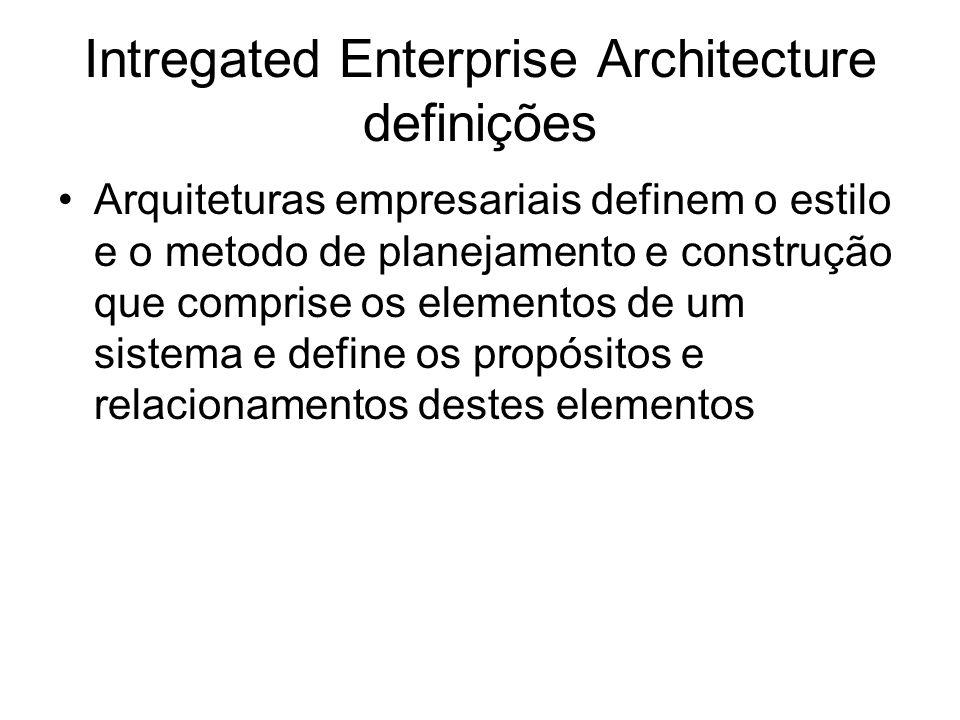 Intregated Enterprise Architecture definições Arquiteturas empresariais definem o estilo e o metodo de planejamento e construção que comprise os elementos de um sistema e define os propósitos e relacionamentos destes elementos