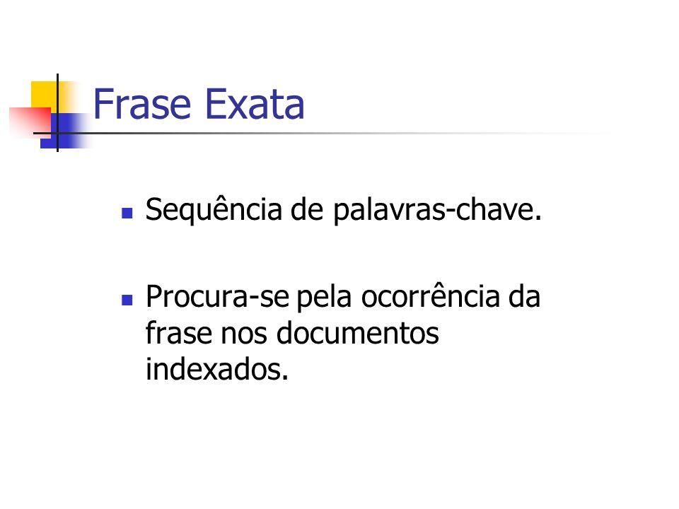 Frase Exata Sequência de palavras-chave. Procura-se pela ocorrência da frase nos documentos indexados.