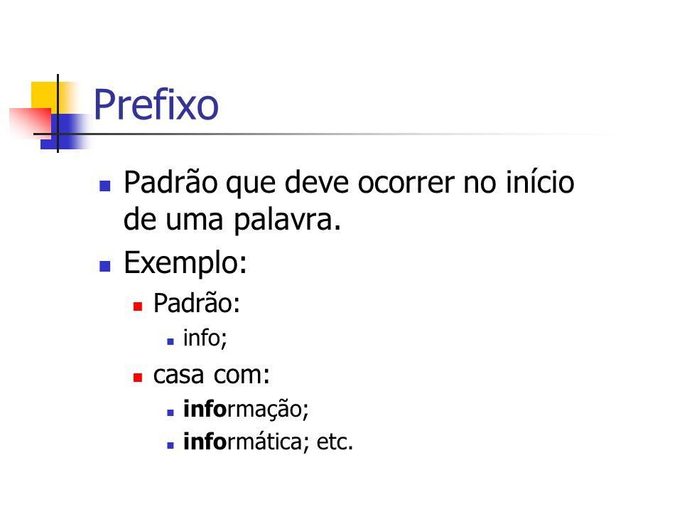 Prefixo Padrão que deve ocorrer no início de uma palavra. Exemplo: Padrão: info; casa com: informação; informática; etc.