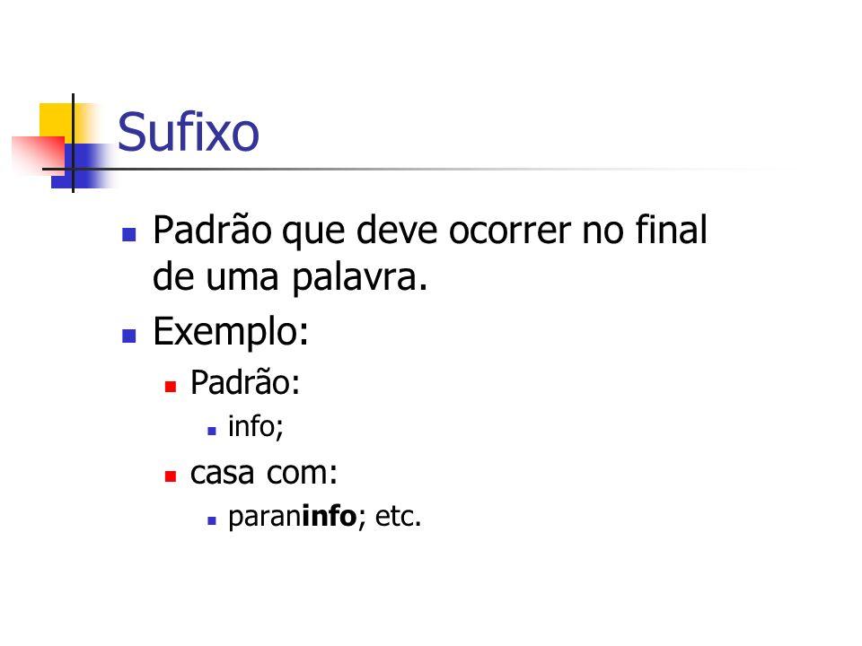 Sufixo Padrão que deve ocorrer no final de uma palavra. Exemplo: Padrão: info; casa com: paraninfo; etc.