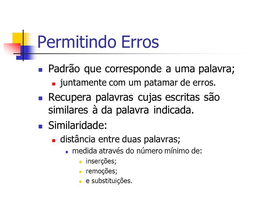 Permitindo Erros Padrão que corresponde a uma palavra; juntamente com um patamar de erros. Recupera palavras cujas escritas são similares à da palavra
