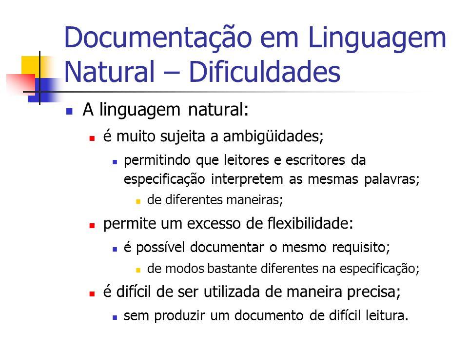Documentação em Linguagem Natural – Dificuldades A linguagem natural: é muito sujeita a ambigüidades; permitindo que leitores e escritores da especifi