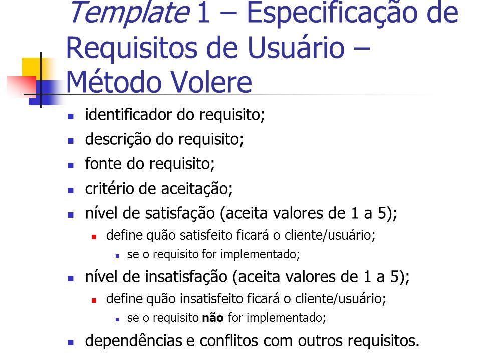 Template 1 – Especificação de Requisitos de Usuário – Método Volere identificador do requisito; descrição do requisito; fonte do requisito; critério d