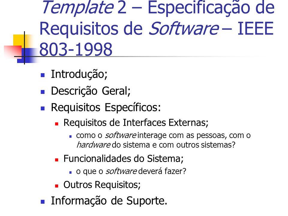 Template 2 – Especificação de Requisitos de Software – IEEE 803-1998 Introdução; Descrição Geral; Requisitos Específicos: Requisitos de Interfaces Ext