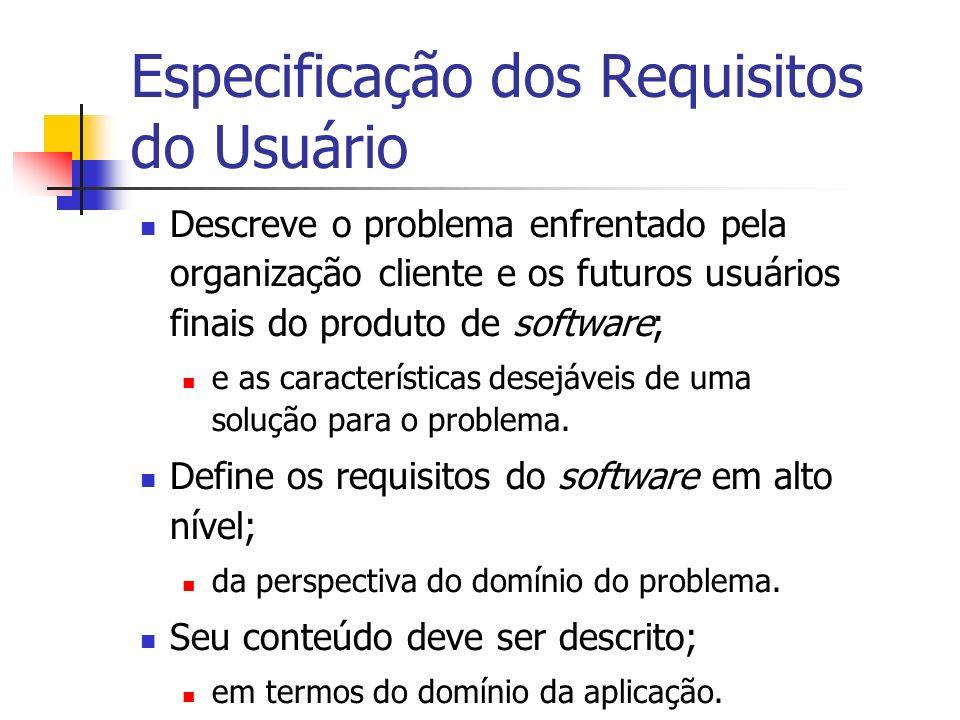 Especificação dos Requisitos do Usuário Descreve o problema enfrentado pela organização cliente e os futuros usuários finais do produto de software; e