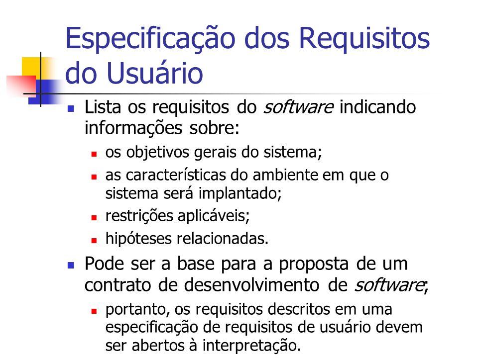 Especificação dos Requisitos do Usuário Lista os requisitos do software indicando informações sobre: os objetivos gerais do sistema; as característica