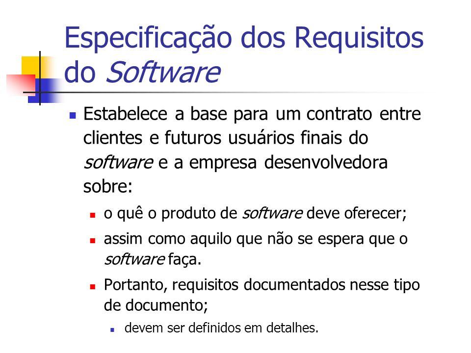 Especificação dos Requisitos do Software Estabelece a base para um contrato entre clientes e futuros usuários finais do software e a empresa desenvolv