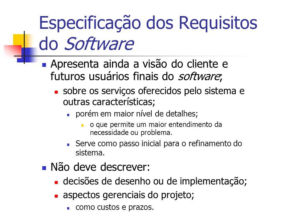 Especificação dos Requisitos do Software Apresenta ainda a visão do cliente e futuros usuários finais do software; sobre os serviços oferecidos pelo s