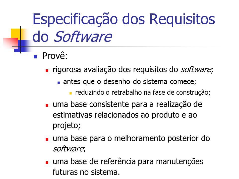 Especificação dos Requisitos do Software Provê: rigorosa avaliação dos requisitos do software; antes que o desenho do sistema comece; reduzindo o retr