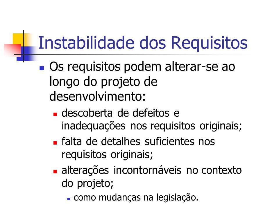 Instabilidade dos Requisitos Os requisitos podem alterar-se ao longo do projeto de desenvolvimento: descoberta de defeitos e inadequações nos requisitos originais; falta de detalhes suficientes nos requisitos originais; alterações incontornáveis no contexto do projeto; como mudanças na legislação.