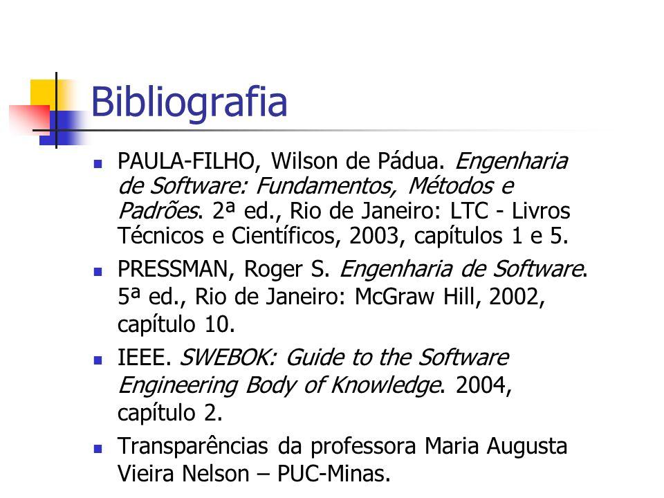 Bibliografia PAULA-FILHO, Wilson de Pádua.Engenharia de Software: Fundamentos, Métodos e Padrões.