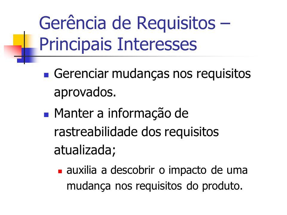 Gerência de Requisitos – Principais Interesses Gerenciar mudanças nos requisitos aprovados.